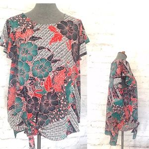 Label Rachel Roy floral tie hi-low blouse L NWT